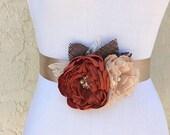 Burlap Rustic Brown Sash - for Wedding - Bridal Sash in Cinnamon, Champagne - Satin, Chiffon & Lace with Swarovski Crystal Bridesmaid Gift