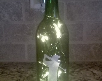 "Lighted  ""Golfer Image on Green Wine Bottle Fun Novelty  Home  Party Decor  Hostess Gift"
