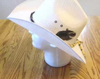 White Cowboy Hat Sz L 7 5/8 61 Wide Brimmed Hat Sun Western