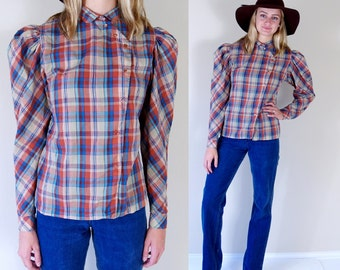 vtg 70s COLORFUL PLAID asymmetrical Prairie BLOUSE Large fitted top boho hippie western retro
