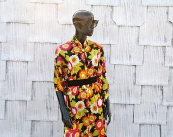 Mandarine Collar Floral Maxi Dress
