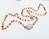 Mexican Opal Beaded Chain and Bezelled White Druzzy Connector with CZ Beads Necklace