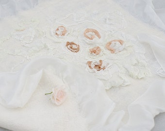 Nuno felt baby blanket Silk Roses - silk and merino baby blanket - Natural Summer blanket with ruffles