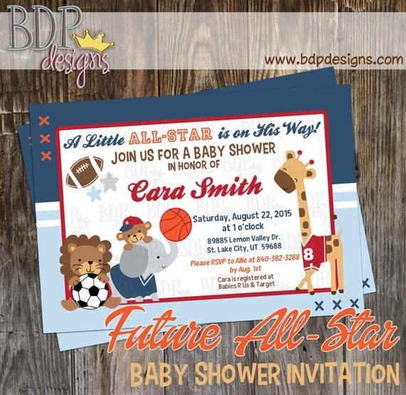future all star mvp sports jungle baby shower invitation, Baby shower invitations