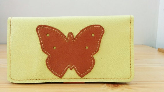 Womens wallet,butterfly wallet,leather wallet,yellow leather,leather card holder,woman wallet, men wallet,brown leather,yellow wallet