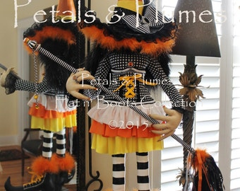 "PRE-ORDER for ""2016""Delivery-Halloween Candy Corn Witch Stand Centerpiece-Petals & Plumes-The ORIGINAL Creator of the Character Wreath-43""H"