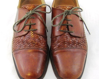70s Mens Shoes Brown Leather Shoes Mens Leather Shoes Woven Leather 1970s Lace Up Shoes Mens Brown Shoes Shoes Made in Italy