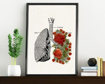 Doctors gift Lungs with roses Print- A4 Wall art Human anatomy print Science prints,art Medical student gift SKA064WA4