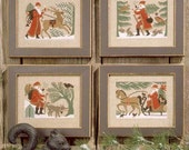 CARDSTOCK PRINTING Woodland Santas Book No. 96 Prairie Schooler cross stitch patterns Christmas holidays scandinavian Claus St. Nicholas