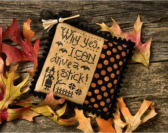 I Can Drive A Stick cross stitch pattern by Lizzie Kate at thecottageneedle.com Halloween October Autumn witch hand embroidery