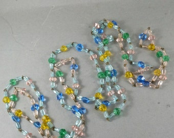 VINTAGE CZECH NECKLACE. faceted antique glass beads. bohemia. czechoslovakia glass bead supply.  1940 No.001340