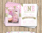 One First Birthday girl pink gold PRINTABLE Invitation #1 chevron polka dot glitter 1st birthday - 1030