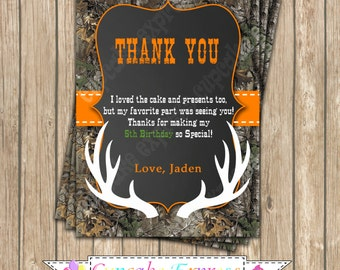 Camo Boy Hunting Birthday Party  PRINTABLE Thank You Card #4 5x7  camouflage orange realtree