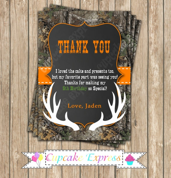Camo Boy Hunting Birthday Party PRINTABLE Thank You Card 4