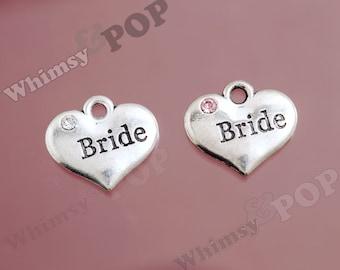 1 - Tibetan Silver Rhinestone Bridal Party Heart Tag Charms, Bride Charm, 16mm x 14mm (2-4C)
