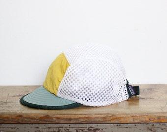 Patagonia Mesh Five 5 Panel Hat Adjustable Large Made In USA Duckbill Hiking Biking Running Bike Kayaking Cycling Vintage