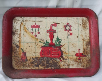 Vintage Rusty Crusty Red Serving Tray