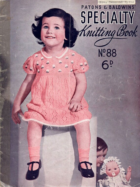 1930s Vintage Knitting Patterns for Toddlers Early Patons