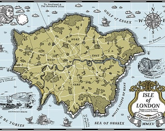 Isle of London screen print map