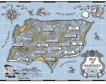 Isle of Haringey Map - screenprint