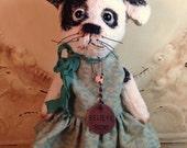 Primitive Antique style viscose Artist Bear Terrier Dog Handmade Folk Art By Penny Grotz Hafair