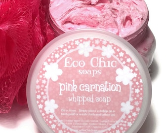Pink Carnation Whipped Soap - Soap in a Jar - Creamy Whipped Soap - Foaming Bath Butter - Paraben FREE - Body Wash - Cleanser