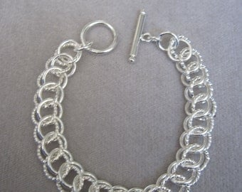 Sterling Silver Tower Linked High Polish and Textured Circle  Bracelet