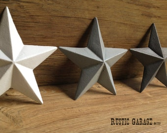 SET OF 3 - Cast Iron Texas Stars - Handpainted Metal Wall Hangings - 7.5