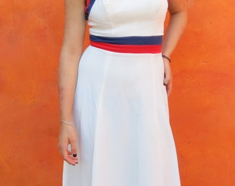 Vintage 1970s Red White Blue Colorblock MAXI Dress. Hostess Dress. bohemian hippie