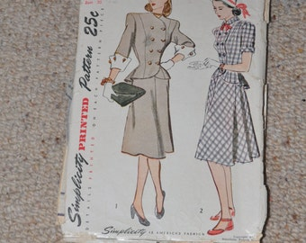1940s Simplicity Pattern #1866 SIZE 12 BUST 30