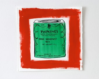 Tea Tin Drawing, Ink Drawing of Twinings Irish Breakfast Tea. Red and Emerald Green.
