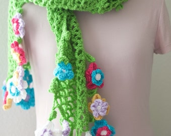 Green Lattice Scarf with Spring Flowers