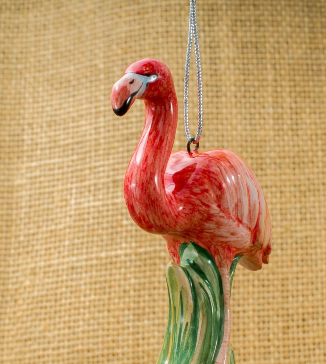 christmas ornament pink flamingo majolica by annaluningiftshop