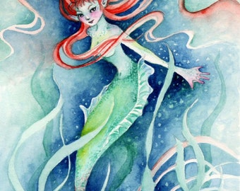 NEW!  Seaweed Mermaid Fantasy Art Print