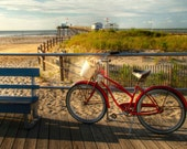 Bicycle and Beach Photograph, Ocean City, New Jersey Shore, Summer, Sand, Boardwalk, Pier, Color Photo, HDR, Art Print, Home Decor, Red