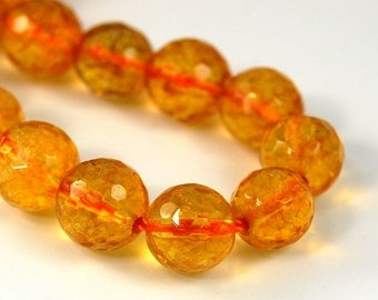 Citrine 8mm faceted round yellow jewelry beads -7.4 inch strand