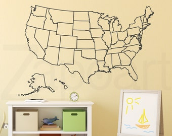 Educational Decals Etsy - Us map wall decal