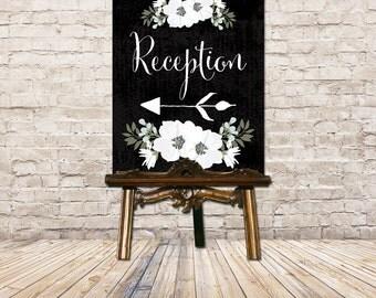 Wedding Reception Sign // PRINTABLE Wedding Sign // Direction Sign // Directional Sign // Vintage Black & White Floral // CUSTOM DIGITAL