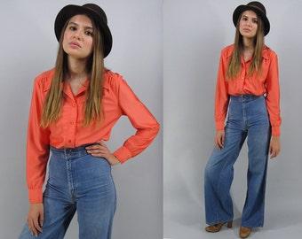 70s Boho Blouse, Long Sleeve Blouse, Knit Top, Jersey Blouse, 70s Button Up Δ size: sm / md