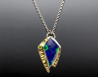 Cosmopolitan - Azurite/Malachite with Peridot Sterling Silver Necklace