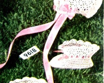 1950's Lacy Crochet Baby Bonnet & Booties PDF Pattern Instant Download