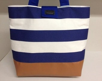 Royal blue striped tote bag with faux leather bottom