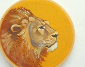 Lion Embroidery Hoop Art - Hand Painted and Embroidered Wall Art
