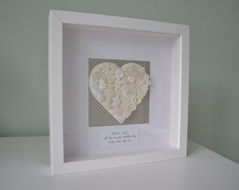 Personalised Vintage Button Heart 3D Box Picture Frame - Wedding, Engagement or Anniversary Gift