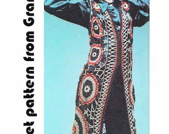 Long Lacy Waistcoat VINTAGE CROCHET PATTERN 1970s, Hippy/Retro/Boho Midi Vest/Coat, Flower Motifs, Instant Pdf from GrannyTakesATrip 0303