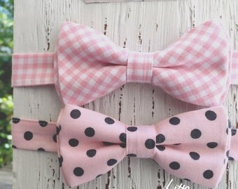 blush bow tie, blush tie, mens pink ties, groomsmen bow ties, boys bowties, vintage pink, pink gingham bow tie, pink and gray pink and white