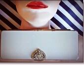 Volupte Compact, Volupté Powder / Make-up Compact, Art Deco, Cream Enamel Rhinestone Lipstick Case, Marked Piece