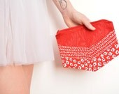 Wedding clutch bag red and white floral silk One of a kind