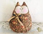 Cat  Doll 6 in. Free Standing Kitty, Autumn Fall Leaves Flowers Print Cat Primitive Handmade CharlotteStyle Decorative