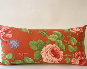 Vintage Decorative Bolster Pillow -Vintage Pindler and Pindler Print - Solid Cream Backing- Invisible Zipper Closure